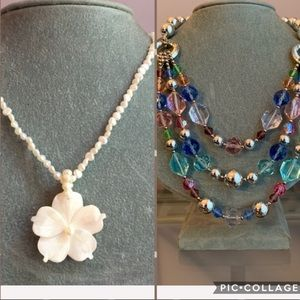 Jewelry - Set of 2 necklaces.  1 white and 1 pastel beaded